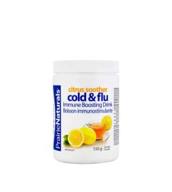 White container with white lid of Prairie Naturals Citrus Soother Cold & Flu immune boosting drink contains 150 g