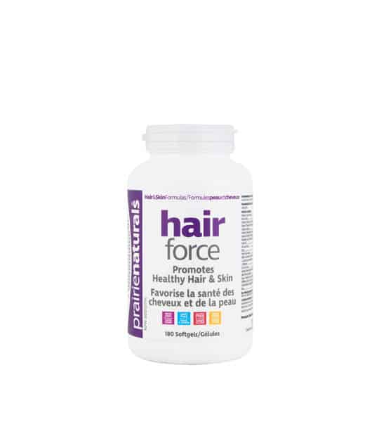 White bottle with white cap of Prairie Naturals Hair Force Promotes Healthy Hair & Skin contains 100 softgels