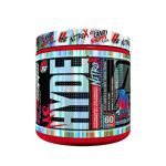 Silver and red container with graphic cap of ProsUpps Mr Hyde NitroX contains 60 servings
