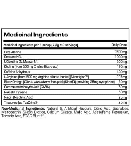 Medicinal ingredients panel of Prosupps Mr Hyde Nitrox for a serving size of 1 scoop (7.3 g)