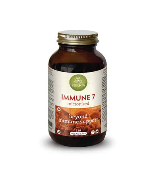Brown bottle with shiny cap of Purica Immune 7 beyond immune support contains 120 vegan Capsules