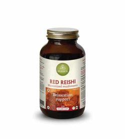 Brown bottle with shiny lid of Purica Red Reishi Relaxation Support contains 120 vegan caps