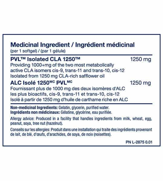 Medicinal ingredients panel of PVL CLA 1250 for serving size of 1 softgel shown in blue text in white background