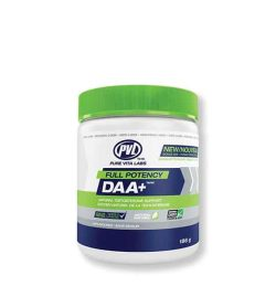 Blue and white container with green lid of PVL New Full Potency DAA+ contains 186 g