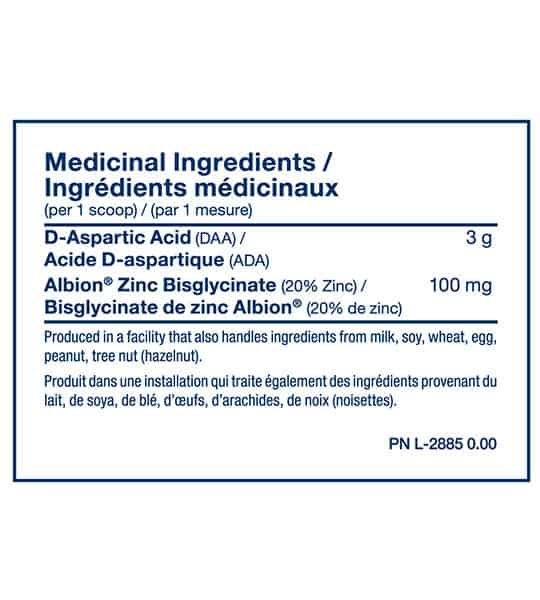 Medicinal ingredients panel of PVL DAA Aspartic Acid for serving size of 1 scoop