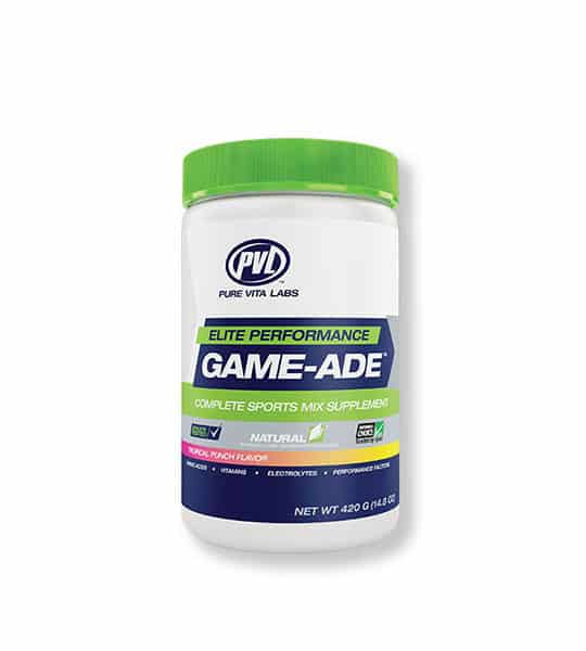 Blue and white container with green lid of PVL Elite Performance Game-ADE natural contains 420 g