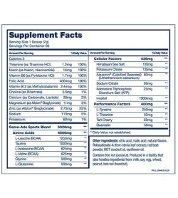 Supplement facts and ingredients panel of PVL Game ADE for serving size of 1 scoop (7 g)