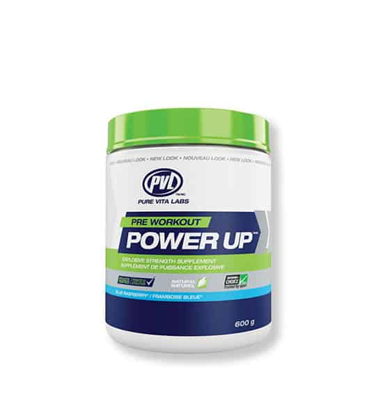 Blue and white container with green lid of PVL Pre-Workout Power Up with Blue Raspberry flavour contains 600 g