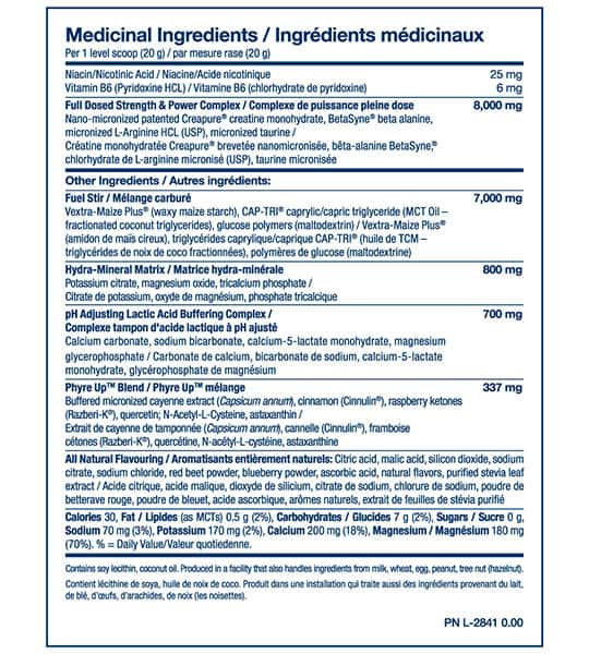 Medicinal ingredients panel of PVL Power Up for a serving size of 1 scoop (20 g)