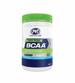 Blue and white container with green lid of PVL 100% Pure BCAA with Blue Raspberry flavour contains 315 g