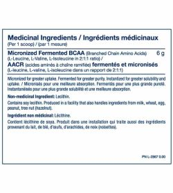 Medicinal ingredients panel of PVL Pure BCAA for serving size of 1 scoop shown with blue text in white background