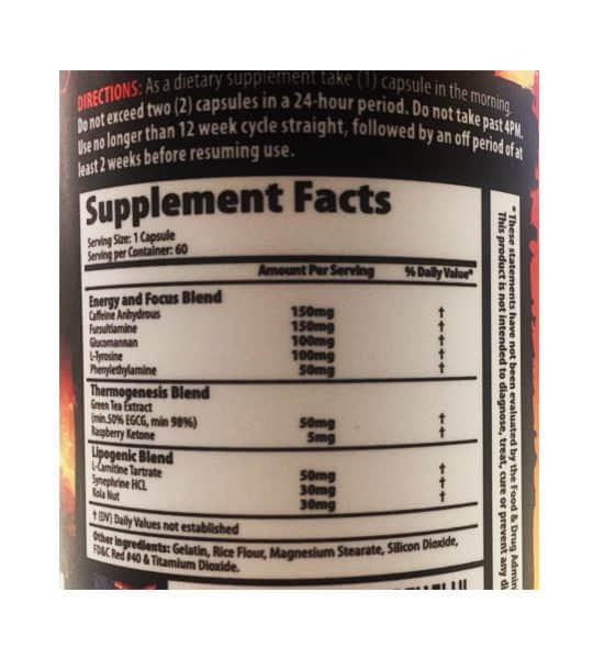 Ingredient panel for Savage Line Labs sarms myo burn thermogenic blend