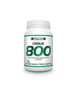 White and green container with white lid of SD Pharmaceuticals Cissus 800 contains 90 veggie capsules