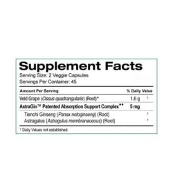 Supplement facts panel of SD Pharmecuticals Cissus-800 for a serving size of 2 veggie capsules with 45 servings per container