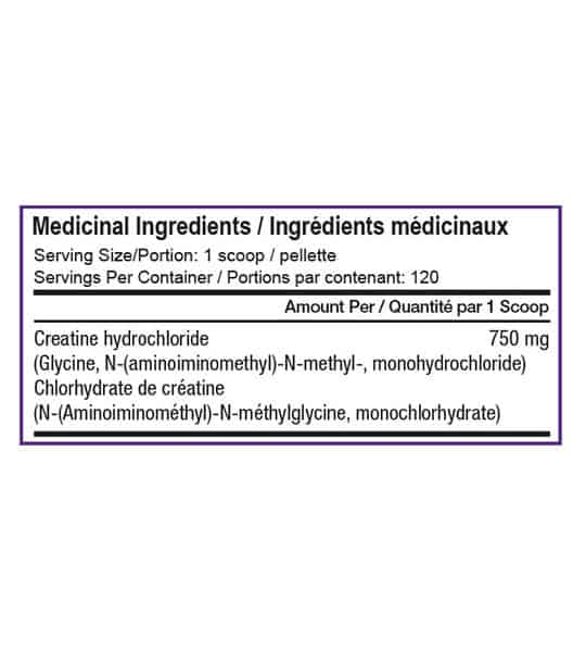 Medicinal ingredients panel of SD Pharmecuticals Creatine HCL for a serving size of 1 scoop with 120 servings per container