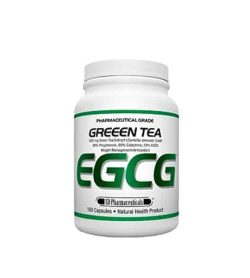 White and green container with white lid of SD Pharmaceuticals Greeen Tea EGCG contains 180 capsules