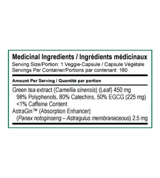 Medicinal ingredients of SD Pharmecuticals EGCG for a serving size of 1 veggie-capsule with 180 servings per container