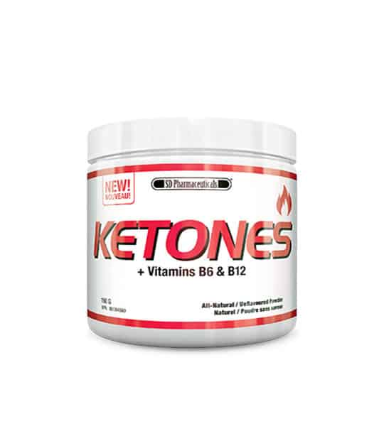 White and red container with white lid of SD Pharmaceuticals Ketones + Vitamins B6 & B12 all-natural