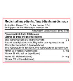 Medicinal ingredients panel of SD Pharmecuticals Ketones for a serving size of 1 scoop (2.5 g) with 60 servings per container
