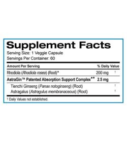 Supplement facts panel of SD Pharmecuticals Rhodiola Rosea-200 for a serving size of 1 veggie capsule with 60 servings per container
