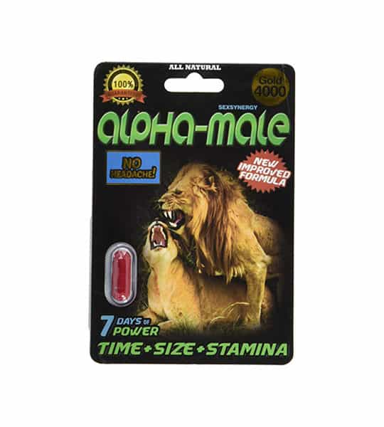 Black package with 1 red capsule of Sexenergy Alpha Male Capsule shows lion picture