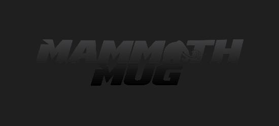 Mammoth Mug logo with mammoth image italic bold black font
