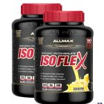 Combo deal 2 black containers of Allmax ISOFlex pure whey protein isolate with Banana flavour contains 5 lbs each