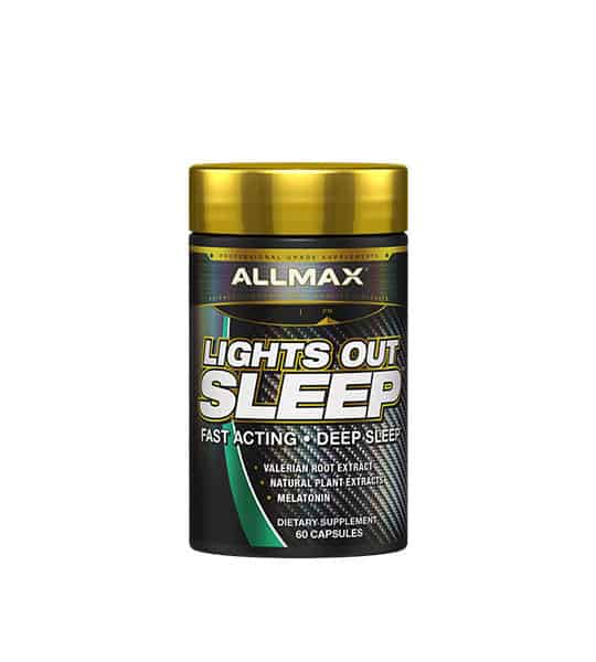 Black container with gold cap of Allmax Lights Out Sleep Fast Acting contains 60 capsules of dietary supplement