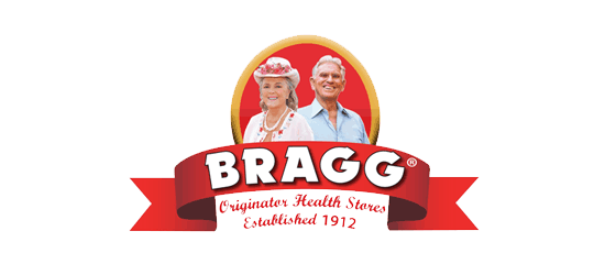 BRAGG logo Orignator Health Stores Established 1912 with a man and a woman on the logo