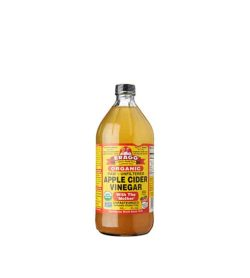 Orange bottle of Bragg Organic Raw Unfiltered Apple Cider Vinegar with the 'Mother' unpasteurized contains 473 ml