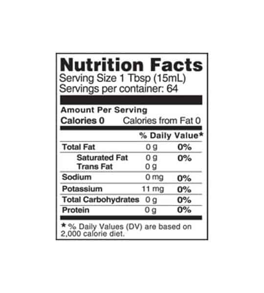 Nutrition facts panel of Bragg Organic Apple Cider Vinegar for serving size of 1 Tbsp (15 ml)