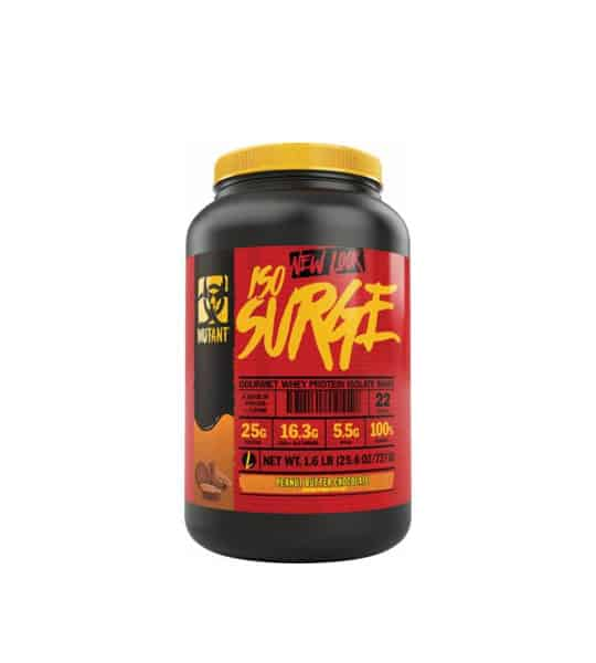 Black and red container with yellow lid of Mutant new look ISO Surge with Chocolate flavour