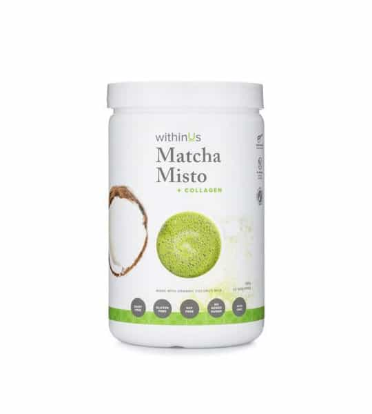 White and green container with white lid of WithinUs Matcha Misto + Collagen shown in white background