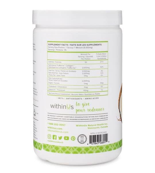 Supplement facts panel of Within Us Matcha Misto Collagen for serving size of 1 scoop
