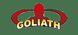 Image de la tête rouge du logo Goliath Labs et lettres jaunes