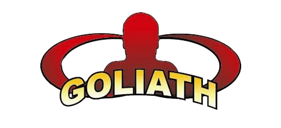 Goliath Labs logo red head image and yellow letters