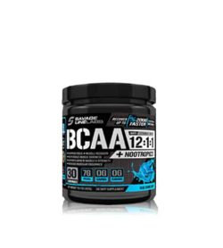 Black Bottle of savage line labs bcaa and nootropics 12 1 1 amino acid drink blue raspberry