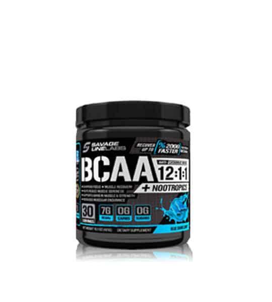 Black Bottle of savage line labs bcaa and nootropics 12 1 1 amino acid drink blue raspberry