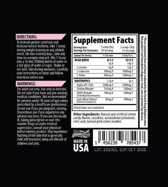 Ingredient panel and supplement facts for Savage Line Labs BCAAs amino acids and nootropics