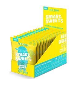 A yellow and cyan box of Smart Sweets Sour Blast Buddies box