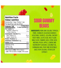 A green and pink label of Smart Sweets Sour Gummy Bears facts ingredients
