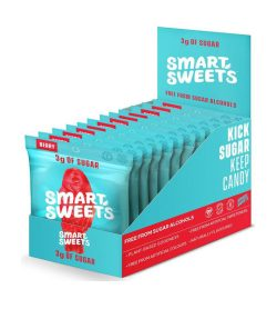 A blue and red box of Smart Sweets Sweet Fish 50g box