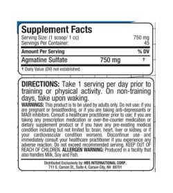 Supplement facts, directions and warnings panel of Allmax Nutrition Agmatine Sulfate for serving size 1 scoop (750 mg)