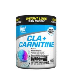 White and blue container with black lid of BPI Health CLA+ Carnitine with Snow Cone flavour contains 50