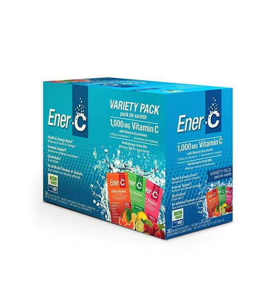 Blue box of Ener-C Variety Pack 1000 mg Vitamin C with 3 different flavours shown in white background