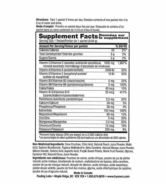 Supplement facts and ingredients panel of Ener C Multivitamin Peach for serving size of 1 packet (9.64 g)