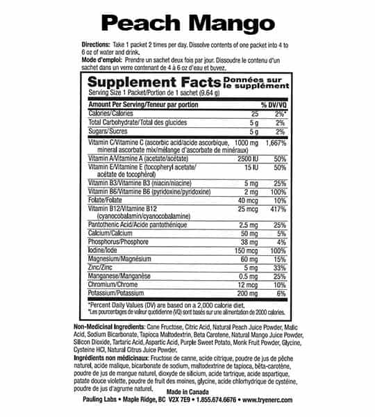 Supplement facts and ingredients panel of Ener C Multivitamin Peach Mango for serving size of 1 packet (9.64 g)