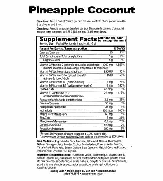 Supplement facts and ingredients panel of Ener C Multivitamin Pineapple Coconut for serving size of 1 packet (9.16 g)
