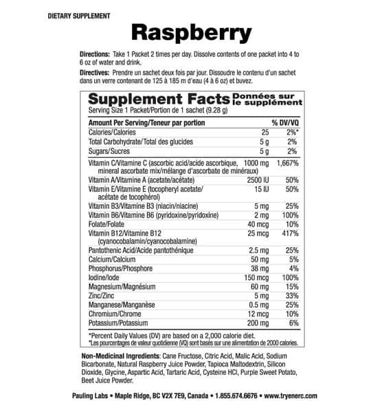Supplement facts and ingredients panel of Ener C Multivitamin Raspberry for serving size of 1 packet (9.28 g)