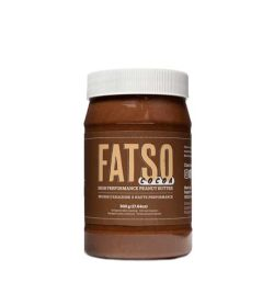 Brown bottle with white cap of Fatso Cocoa High Performance Peanut Nutter containing 500 g
